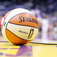18 May 2014: An official game ball is seen on the court during the Phoenix Mercury 74-69 victory over the Los Angeles Sparks, at the Staples Center, Los Angeles, California, USA.