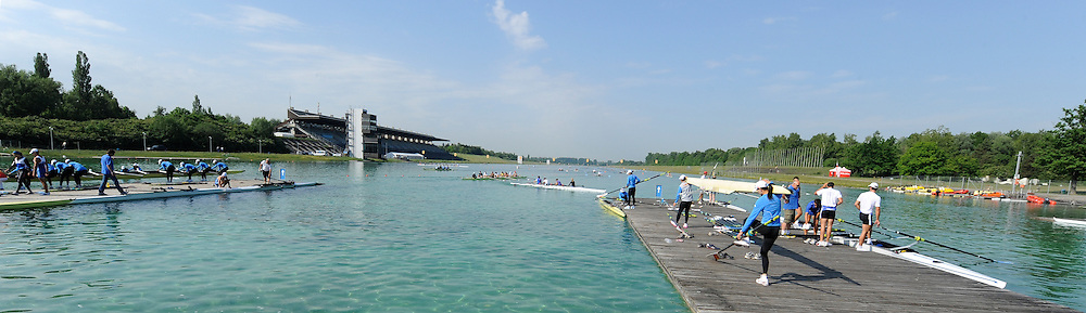 Munich, GERMANY,  General views, GV' s Boating area. . FISA world Cup Rd 1. Munich Olympic Rowing Course,  Thursday  26/05/2011  [Mandatory Credit Peter Spurrier/ Intersport Images]