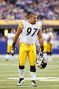 INDIANAPOLIS, IN - SEPTEMBER 25: Cameron Heyward #97 of the Pittsburgh Steelers looks on during the game against the Indianapolis Colts at Lucas Oil Stadium on September 25, 2011 in Indianapolis, Indiana. The Steelers won 23-20. (Photo by Joe Robbins) *** Local Caption *** Cameron Heyward