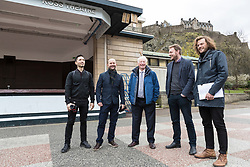International architects fly in to Edinburgh for their first sight of West Princes Street Gardens as they compete to design a new venue to replace the Ross Bandstand.<br /> <br /> Chair Norman Springford and Project Manager David Ellis from the Ross Development Trust provide visiting teams with a tour of the Gardens and existing Bandstand site.<br /> <br /> A competition to replace the Ross Bandstand in the heart of Edinburgh's West Princes Street Gardens with a new landmark Pavilion has received worldwide interest from architects and designers.<br /> <br /> Entries from 125 teams spanning 22 countries and made of 400 individual firms have been narrowed down to seven finalists. <br /> <br /> The seven finalists will be invited to create concept designs for the £25m project brief, which includes a new landmark venue to replace the bandstand, a visitor centre and subtle updates to West Princes Street Gardens.<br /> <br /> Each of the finalist teams will be led by the following architects:<br /> <br /> - Adjaye Associates (UK)<br /> - BIG Bjarke Ingels Group (Denmark)<br /> - Flanagan Lawrence (UK)<br /> - Page \ Park Architects (UK)<br /> - Reiulf Ramstad Arkitekter (Norway)<br /> - wHY (USA)<br /> - William Matthews Associates (UK) and Sou Fujimoto Architects (Japan)<br /> <br /> Pictured: Norman Springford with the team from William Matthews Associates and Sou Fujimoto Architects
