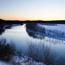 Just after sunset as seen from a bluff overlooking the Merrimack River in Canterbury, New Hampshire. Winter.