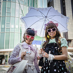 Girls dressed as Lolitas walking on the streets of Tokyo, Japan, Asia