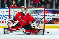 KELOWNA, BC - DECEMBER 30:  Taylor Gauthier #35 of the Prince George Cougars makes a first period save against the Kelowna Rockets at Prospera Place on December 30, 2019 in Kelowna, Canada. (Photo by Marissa Baecker/Shoot the Breeze)