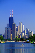 Image of the Chicago skyline from Lincoln Park, Chicago, Illinois, American Midwest