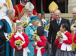 WINDSOR - UK - 24th Mar 2016: HM Queen Elizabeth, accompanied by HRH The Duke , The Duke attends the annual pre-Easter Maundy Thursday service at St George's Chapel in the grounds of Windsor Castle.<br /> <br /> <br /> Photograph by Ian Jones.