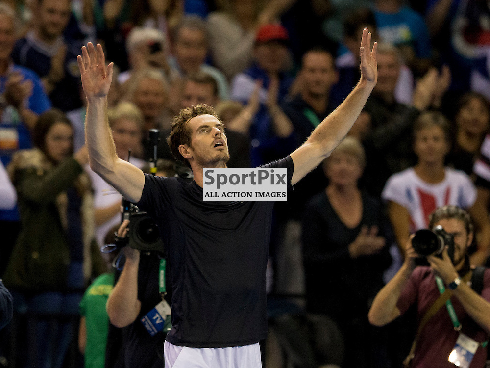 Davis Cup semi-final: Great Britain v Australia<br /> <br /> Andy Murray celebrates win over Thanasi Kokkinakis after Friday's opening singles Match.<br /> <br /> <br /> Picture: Alan Rennie
