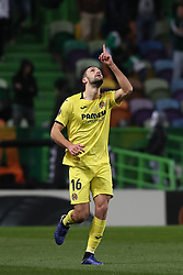 February 14, 2019 - Lisbon, Portugal - Villarreal's defender Alfonso Pedraza celebrates after scoring a goal during the UEFA Europa League Round of 32 First Leg football match Sporting CP vs Villarreal CF at Alvalade stadium in Lisbon, Portugal on February 14, 2019. (Credit Image: © Pedro Fiuza/ZUMA Wire)