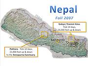 Nepal map, indicating Kathmandu, and treks in Pokhara, and Everest/Gokyo area