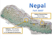 Nepal map, indicating Kathmandu, and treks in Pokhara, and Everest/Gokyo area