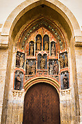 Entrance to Saint Mark's Church in old town Gradec, Zagreb, Croatia