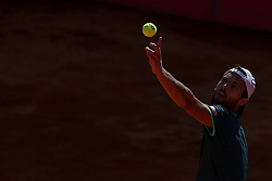 May 5, 2018 - Estoril, Portugal - Joao Sousa of Portugal serves a ball to Stefanos Tsitsipas of Greece during the Millennium Estoril Open ATP 250 tennis tournament semifinal, at the Clube de Tenis do Estoril in Estoril, Portugal on May 5, 2018. (Credit Image: © Pedro Fiuza via ZUMA Wire)