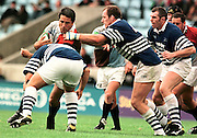 Twickenham, GREAT BRITAIN, Quins' Zinzan Brooke on the attack, during the Harlequins vs Sale Sharks, rugby match played at the Stoop ground. England.[Mandatory Credit; Peter Spurrier; Intersport Images]