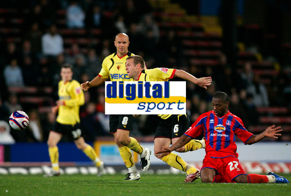 Photo: Tom Dulat.<br /> <br /> Crystal Palace v Watford. Coca Cola Championship. 29/10/2007.<br /> <br /> Franck Songo'o of Crystal Palace was pulled down by Jay DeMrit of Watford.