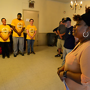 BRONX, NY - 8/18/2018 - Marricka Scott McFadden, Bronx Deputy Borough President, speaks to a group of Sailors from Navy Operational Support Center New York who volunteered at Samuel H. Young American Legion Post 620 on Saturday. The Sailors cleaned up the yard at the post as part of a Navy leadership training program called CPO365.  (U.S. Navy Photo by Chief  Mass Communication Specialist Roger S. Duncan / RELEASED )