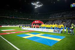 November 13, 2017 - Milano, ITALIEN - 171113 Spelarna stÃ¥r uppställda vid lineup under fotbollsmatchen i VM-kvalets play-off mellan Italien och Sverige den 13 november 2017 i Milano  (Credit Image: © Petter Arvidson/Bildbyran via ZUMA Wire)