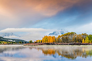 Autumn aspens reflecting in the calm waters of the Snake River at Oxbow Bend in Grand Teton National Park. Mount Moran is the peak towering above the aspens.