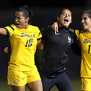 Long Beach State defender Chloe Froment (10), goalkeeper Cynthia Diaz (0) and forward Ashley Gonzales (14) celebrate their victory after the Big West Conference semi-final playoff game between the University of California - Northridge Matadors and the Long Beach State 49ers at George Allen Field on November 3, 2016.<br /> <br /> Photo by Darren Yamashita / Sports Shooter Academy