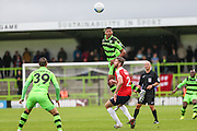 Forest Green Rovers Ethan Pinnock (16) heads the ball during the Vanarama National League match between Forest Green Rovers and York City at the New Lawn, Forest Green, United Kingdom on 20 August 2016. Photo by Shane Healey.