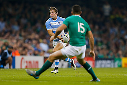Argentina Winger Santiago Cordero breaks to create Argentina try for Winger Juan Imhoff - Mandatory byline: Rogan Thomson/JMP - 07966 386802 - 18/10/2015 - RUGBY UNION - Millennium Stadium - Cardiff, Wales - Ireland v Argentina - Rugby World Cup 2015 Quarter Finals.