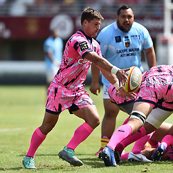 Petrus Erasmus of Paris during Top 14 match between Perpignan and Stade Francais on August 25, 2018 in Perpignan, France. (Photo by Alexandre Dimou/Icon Sport)