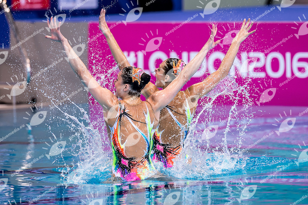 LIMANOUSKAYA Iryna  BLR YESIPOVICH Veronika  BLR<br /> London, Queen Elizabeth II Olympic Park Pool <br /> LEN 2016 European Aquatics Elite Championships <br /> Synchronised Swimming Synchro Duet Tech<br /> Day 06 13-05-2016<br /> Photo Giorgio Scala/Deepbluemedia/Insidefoto