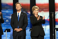 PHILADELPHIA- OCTOBER 30:  Sen. John Edwards (D-NC), and Sen. Hillary Clinton (D-NY) onstage at the start of the Democratic Presidential Candidate Debate October 30, 2007 at Drexel University in Philadelphia, Pennsylvania. (Photo by William Thomas Cain/Getty Images)