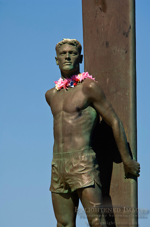 Surfer Statue on West Cliff Drive at Lighthouse State Beach, Santa Cruz, California