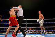 The referee stops the fight during the Josh Warrington Sofiane Takoucht IBF featherweight title fight at First Direct Arena, Leeds, United Kingdom on 12 October 2019.