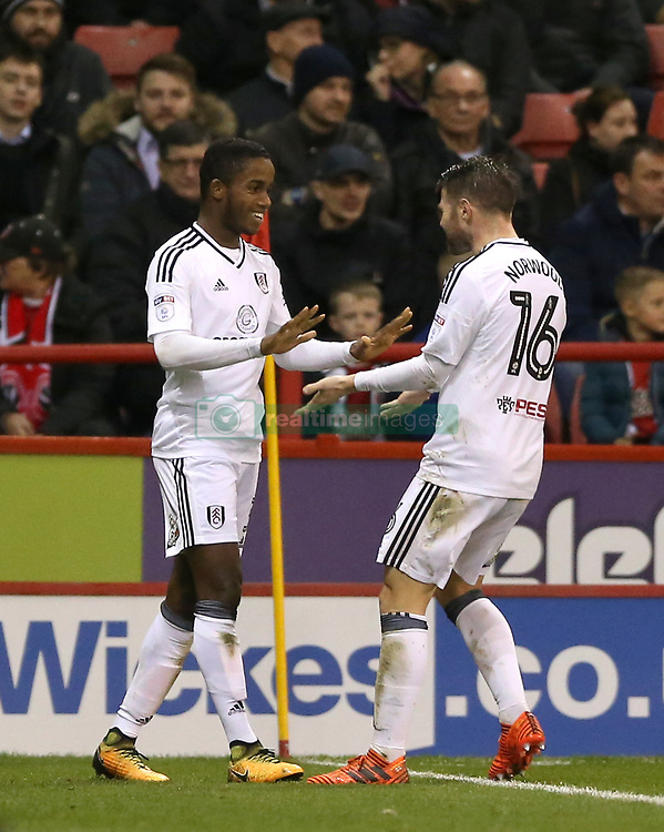Fulham's Ryan Sessegnon (left) celebrates scoring his side's third goal of the game during the Sky Bet Championship match at Bramall Lane, Sheffield.