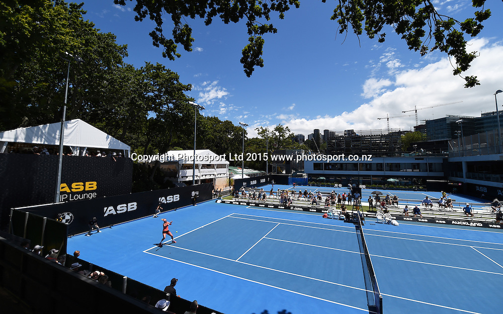 General view of the Grandstand court on Day 3 at the ASB Classic WTA International. Auckland, New Zealand. Wednesday 7 January 2015. Copyright photo: Andrew Cornaga/www.photosport.co.nz