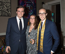 Left to right, FREDDIE COLERIDGE, SOPHIE COLERIDGE and ALEX COLERIDGE at the Tatler Little Black Book Party at Home House Member's Club, Portman Square, London supported by CARAT on 11th November 2015.