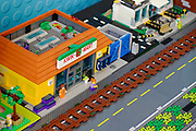 city scene from Lego building blocks at the Holon Children's museum. Holon, Israel