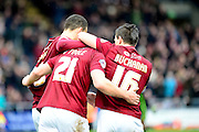 Northampton Town Midfielder John-Joe O'Toole celebrates the first goal  during the Sky Bet League 2 match between Northampton Town and York City at Sixfields Stadium, Northampton, England on 6 February 2016. Photo by Dennis Goodwin.