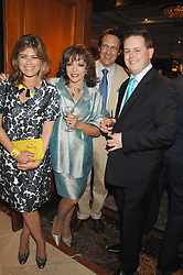 Left to right, SARAH STANDING, JOAN COLLINS, her husband PERCY GIBSON and MATTHEW d'ANCONA at a party to celebrate the 180th Anniversary of The Spectator magazine, held at the Hyatt Regency London - The Churchill, 30 Portman Square, London on 7th May 2008.<br />