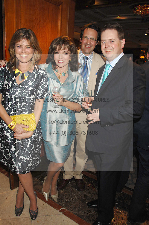 Left to right, SARAH STANDING, JOAN COLLINS, her husband PERCY GIBSON and MATTHEW d'ANCONA at a party to celebrate the 180th Anniversary of The Spectator magazine, held at the Hyatt Regency London - The Churchill, 30 Portman Square, London on 7th May 2008.<br /><br />NON EXCLUSIVE - WORLD RIGHTS