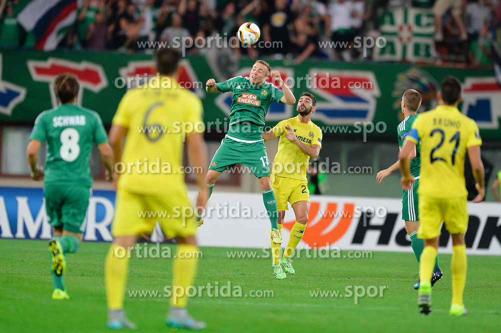 Christopher Dibon of SK Rapid vs. Mario Gaspar Perez Martinez of Villarreal CF during football match between SK Rapid Wien (AUT) and Villarreal CF (ESP) in Group E of Group Stage of UEFA Europa League 2015/16, on September 17, 2015 in Vienna (Ernst Happel Stadion), Austria. Photo by Mario Horvat / Sportida