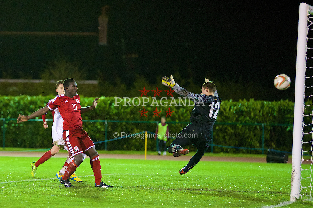CONNAH'S QUAY, WALES - Thursday, March 20, 2014: Wales' Ibi Sosani sees his goal disallowed against Poland during the Under-15's International Friendly match at the Deeside Stadium. (Pic by David Rawcliffe/Propaganda)