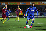 AFC Wimbledon striker Joe Pigott (39) dribbling during the EFL Sky Bet League 1 match between AFC Wimbledon and Ipswich Town at the Cherry Red Records Stadium, Kingston, England on 11 February 2020.