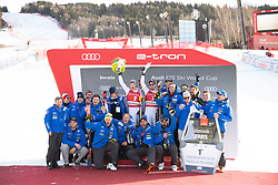 28.12.2018, Stelvio, Bormio, ITA, FIS Weltcup Ski Alpin, Abfahrt, Herren, Siegerehrung, im Bild Christof Innerhofer (ITA, 2. Platz), Dominik Paris (ITA, 1. Platz) mit ihrem Team // second placed Christof Innerhofer of Italy race winner Dominik Paris of Italy with their team during the winner Ceremony for the men's Downhill of FIS Ski Alpine World Cup at the Stelvio in Bormio, Italy on 2018/12/28. EXPA Pictures © 2018, PhotoCredit: EXPA/ Johann Groder