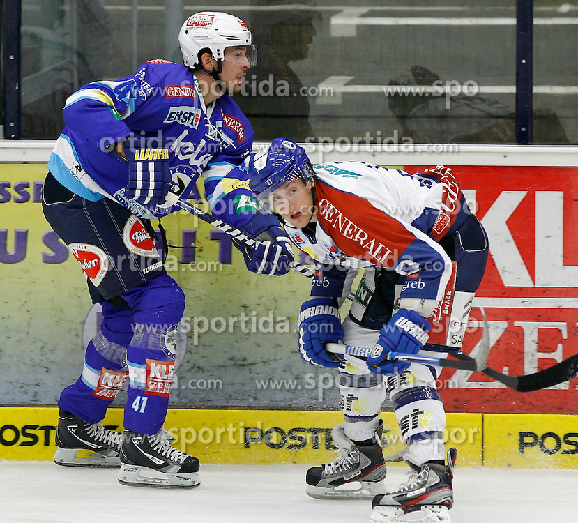 23.09.2012, Stadthalle, Villach, AUT, EBEL, EC VSV vs KHL Medvescak Zagreb, 6. Runde, im Bild Mario Altmann (VSV,#41) und Brandon Buck (Zagreb,#9) // during the Erste Bank Icehockey League 6th Round match between EC VSV vs KHL Medvescak Zagreb at the City Hall, Villach, Austria, 2012/09/23, EXPA Pictures © 2012, PhotoCredit: EXPA/ Oskar Hoeher