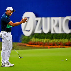May 2, 2016; Avondale, LA, USA; Jhonattan Vegas reacts after missing a putt on the green at the ninth hole during the continuation of the third round of the 2016 Zurich Classic of New Orleans at TPC Louisiana. The tournament has been shortened to 54 holes due to weather delays throughout the week. Mandatory Credit: Derick E. Hingle-USA TODAY Sports