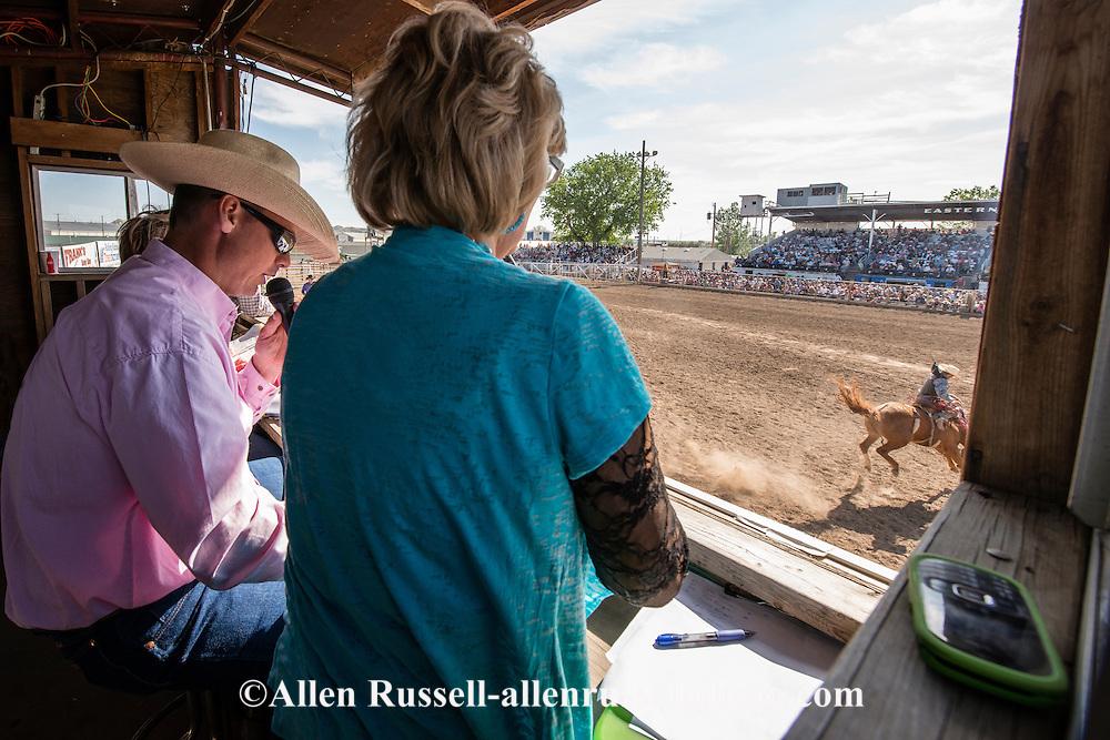 Paul Pauley announcer, Miles City Bucking Horse Sale, Montana.