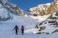 The Tete de Valpelline and two alpinists on the Zmuttgletscher, Valais, Switzerland