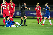 Chelsea Ladies Ji So-Yun (10) fouled in penalty area during the UEFA Women's Champions League quarter final second leg match between Chelsea Ladies and Montpellier Feminines at the Kings Sports Ground, New Malden, United Kingdom on 28 March 2018. Picture by Robin Pope.