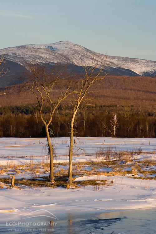 Mount Washington as seen from Jefferson, New Hampshire.  The Israel River in the foreground is just starting to melt.  Early spring.