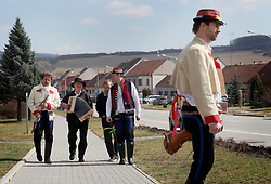 CZECH REPUBLIC MORAVIA BANOV 2APR18 - Easter celebrations with folklore musicians Jiri and Jan Chovanec as  they wander on their round through the village of Banov, Moravia. <br />