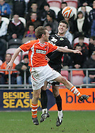 Blackpool - Saturday March 7th, 2009: Brett Ormerod of Blackpool and Jason Shackell of Norwich City in action during the Coca Cola Championship match at Bloomfield Road, Blackpool. (Pic by Michael Sedgwick/Focus Images)