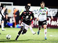Fotball , 3. oktober 2013 , Tippeligaen , Eliteserien<br /> Hønefoss - Sogndal 3-1<br /> Sidy Sagna , Sogndal<br /> Kevin Larsen , Hønefoss