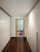 Interior of modern house, corridor with closets