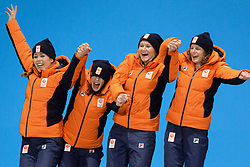 February 22, 2018 - Pyeongchang, South Korea - The speed skating team from the Netherlands celebrates getting the silver medal in the Ladies' Team Pursuit event in the PyeongChang Olympic Games. .Team members :  Marrit LEENSTRA  Jorien TER MORS Lotte VAN BEEK  Ireen WUST Antoinette DE JONG. (Credit Image: © Christopher Levy via ZUMA Wire)